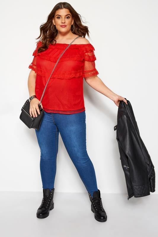 KOKO Red Lace Mesh Frill Bardot Top