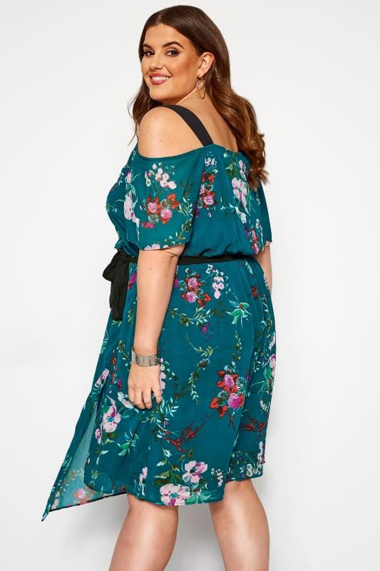 Green Plus Size Large 2XL Dress with Peekaboo Shoulders Turquoise Flowers NEW
