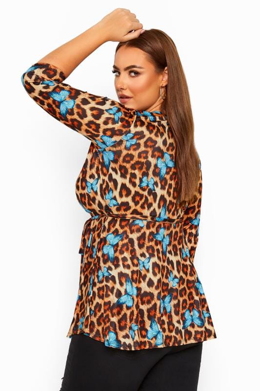 LIMITED COLLECTION Brown Butterfly Leopard Print Wrap Top