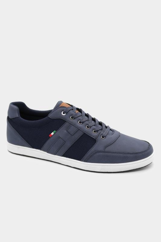 Plus Size Footwear D555 Navy Canvas Panel Trainers
