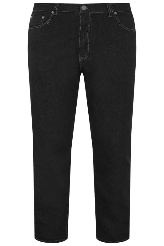 Men's Straight KAM Black Regular Fit Stretch Jeans