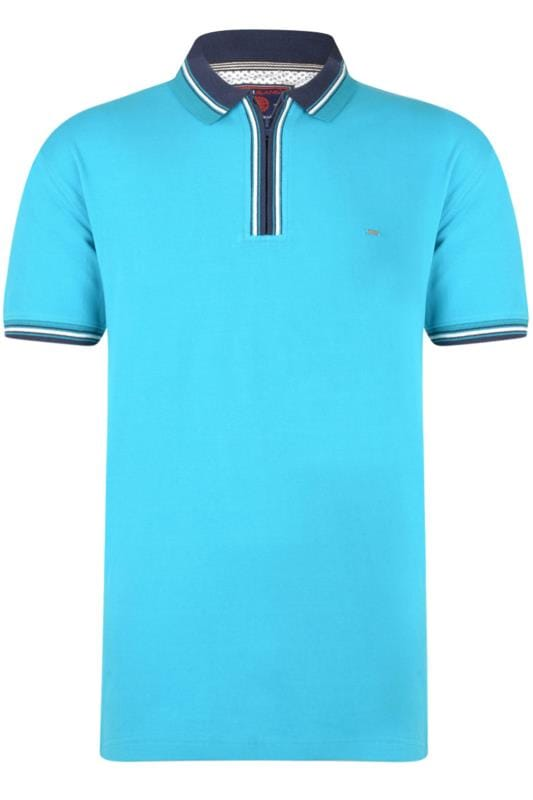 KAM Blue Quarter Zip Polo Shirt