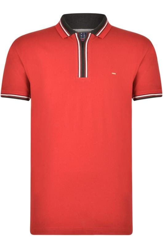 KAM - Poloshirt met korte rits in bordeauxrood