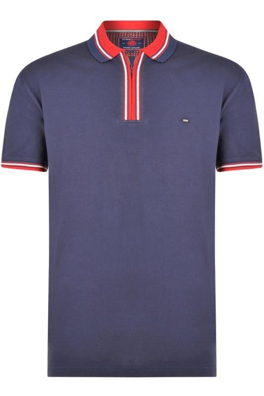 KAM - Poloshirt met korte rits in donkerblauw-rood