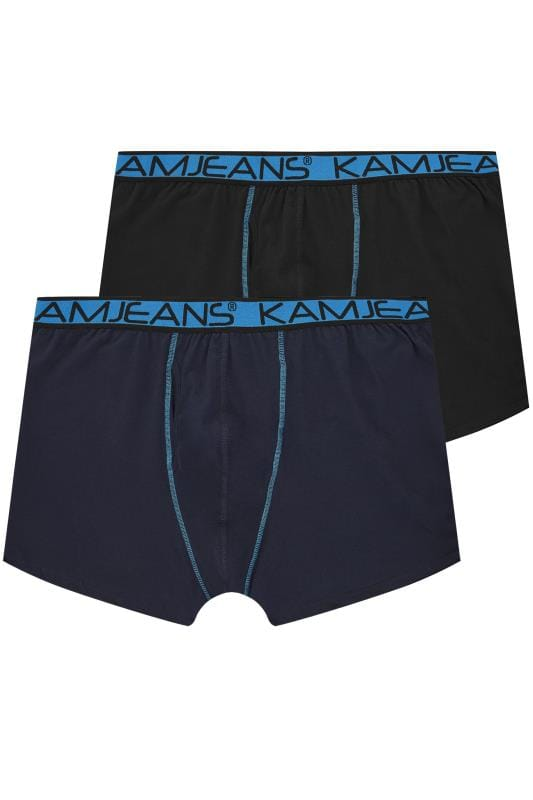 Plus Size Boxers & Briefs KAM 2 PACK Black & Navy Jersey Boxers