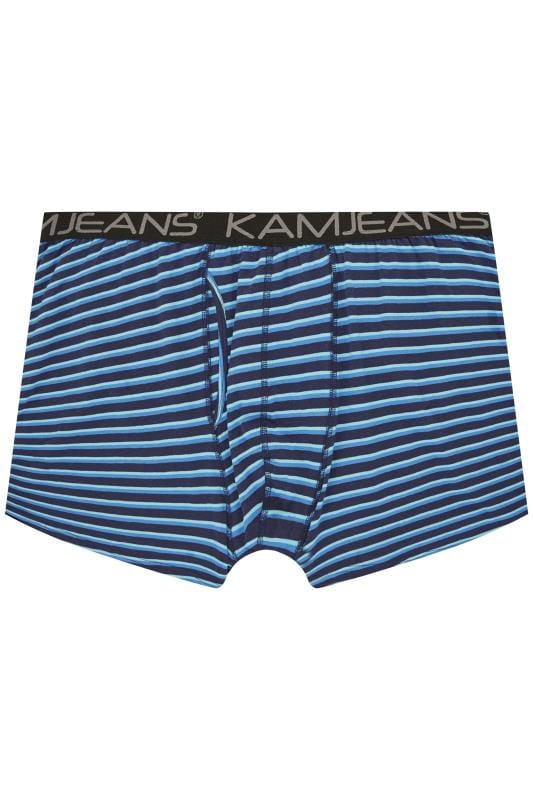 KAM 2 PACK Black & Blue Striped Jersey Boxers