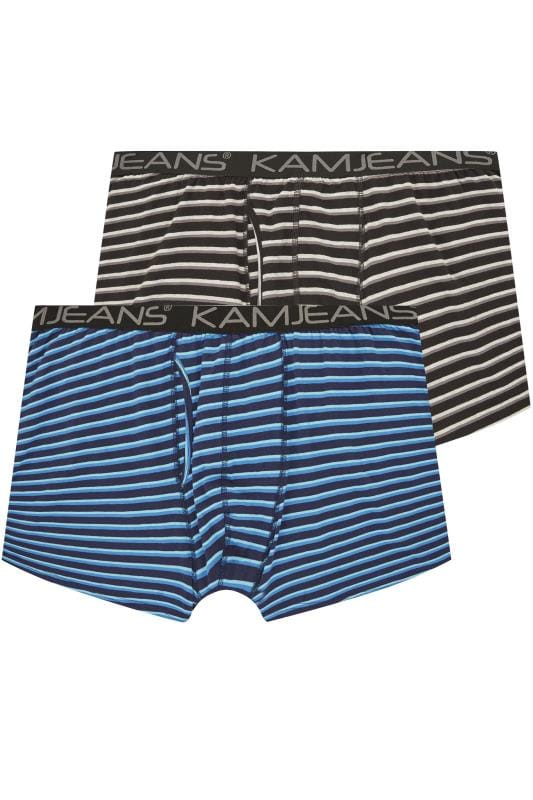 Boxers & Briefs KAM 2 PACK Black & Blue Striped Jersey Boxers 201960