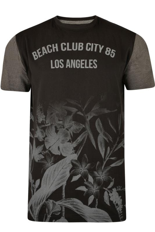 KAM Black Beach Floral T-Shirt