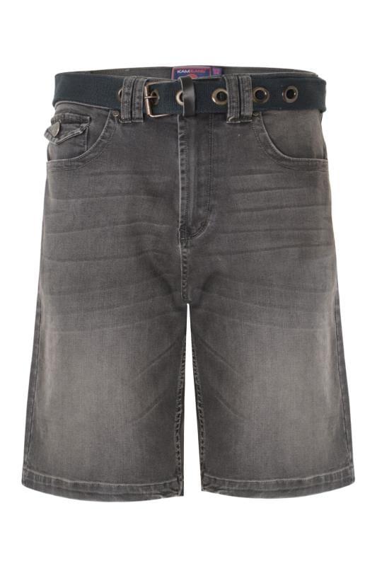 KAM Charcoal Grey Belted Denim Shorts