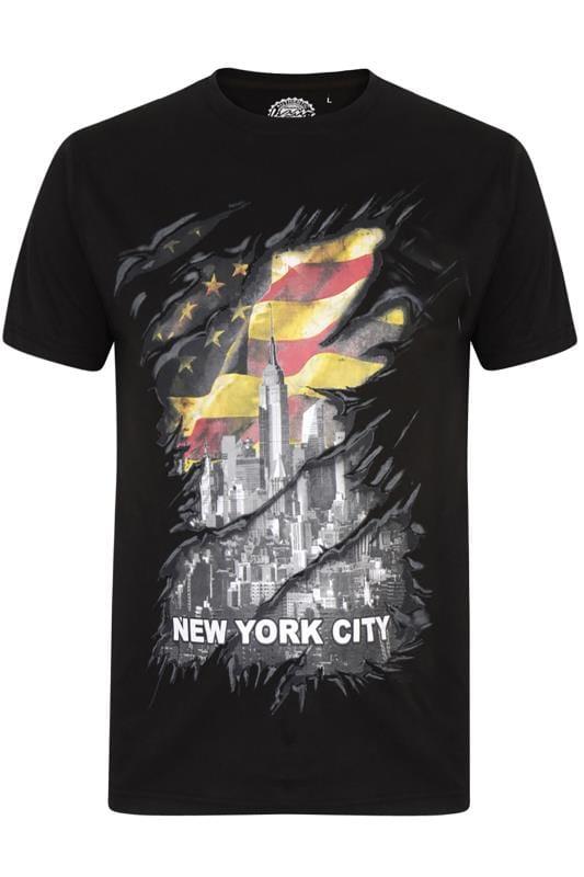 Plus Size T-Shirts KAM Black New York Graphic T-Shirt