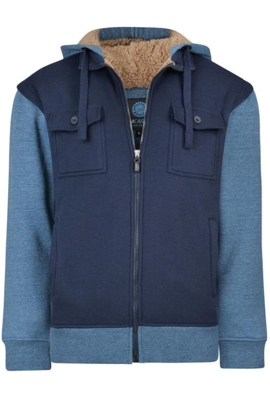 Plus Size Hoodies KAM Blue Borg Lined Contrast Hoodie