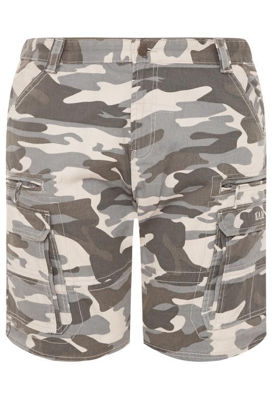 Plus Size Cargo Shorts KAM Charcoal Grey Camo Cargo Shorts