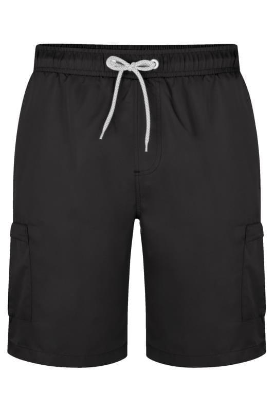 Großen Größen Swim Shorts KAM Black Cargo Swim Shorts