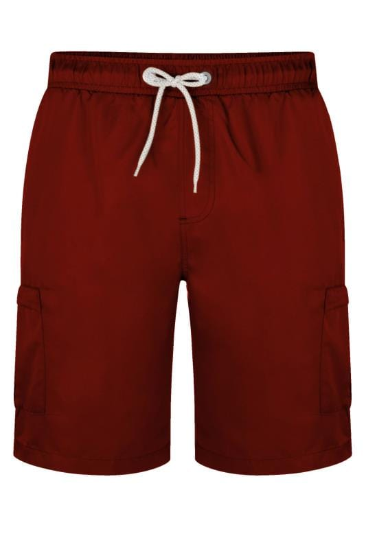 KAM Burgundy Cargo Swim Shorts