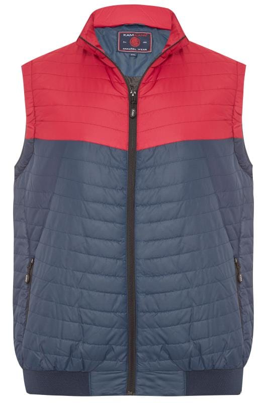 Plus Size Gilets KAM Navy & Red Contrast Gilet