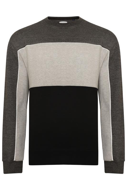 Plus Size Sweatshirts KAM Grey Colour Block Sweatshirt