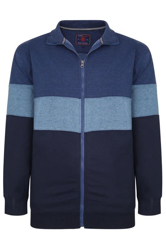 KAM Blue Colour Block Zip Sweatshirt