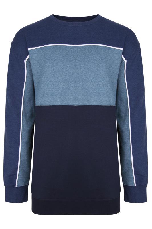 Plus Size Sweatshirts KAM Blue Colour Block Sweatshirt