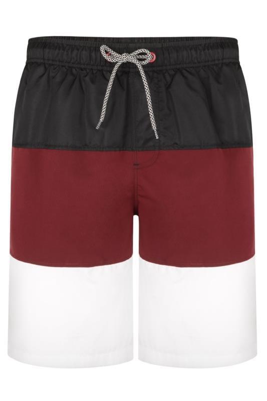 Plus Size Swim Shorts KAM Black Colour Block Swim Shorts