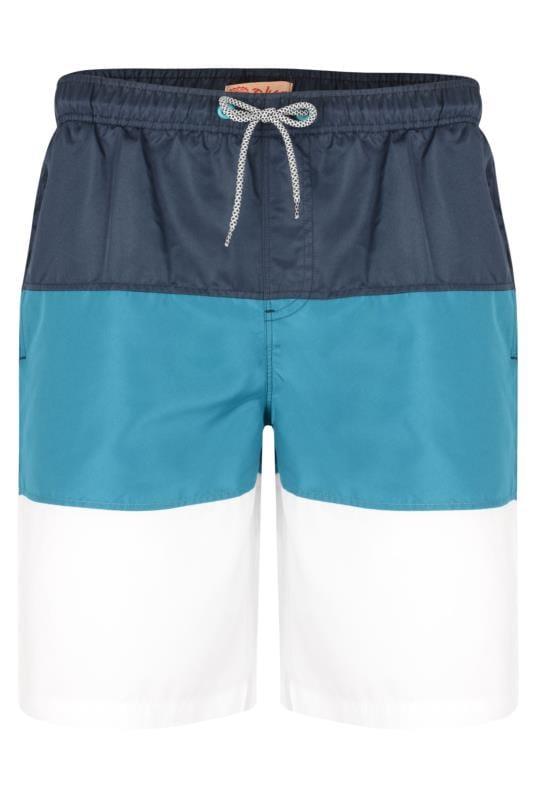 KAM Navy Colour Block Swim Shorts