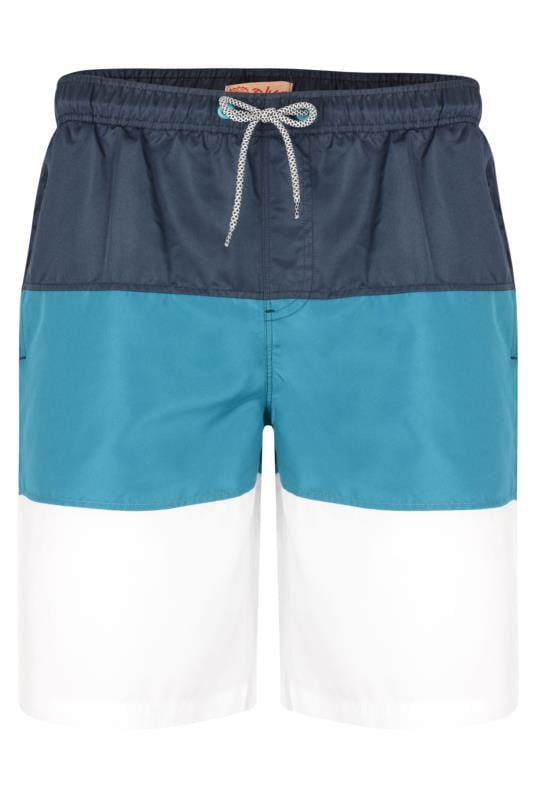 Plus Size Swim Shorts KAM Navy Colour Block Swim Shorts