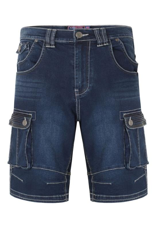 Men's Denim Shorts KAM Dark Blue Cargo Denim Shorts