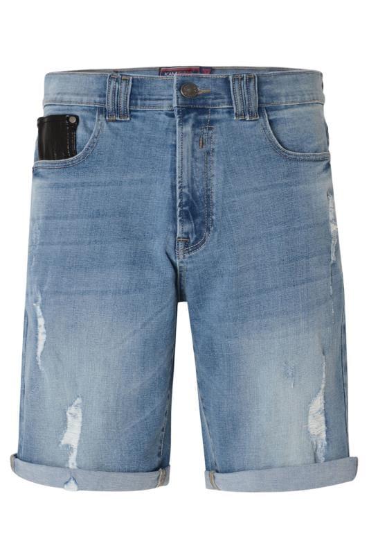 Plus Size Denim Shorts KAM Blue Distressed Denim Shorts