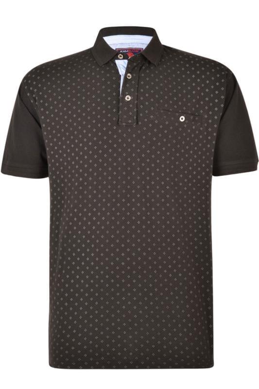 Polo Shirts KAM Black Dobby Print Polo Shirt 202630