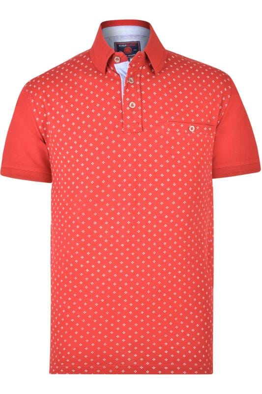 Kam Red Dobby Print Polo Shirt