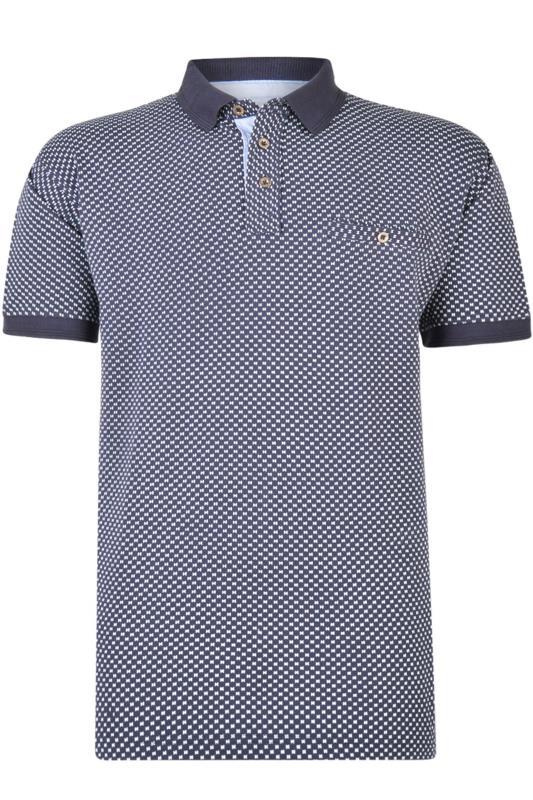 Polo Shirts KAM Navy Dobby Print Polo Shirt 202631