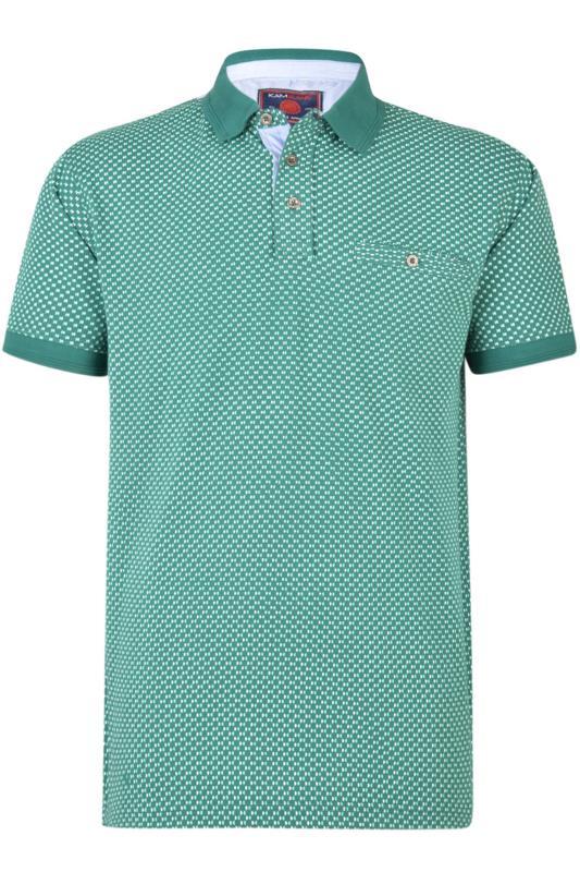 Polo Shirts KAM Teal Dobby Print Polo Shirt 202632