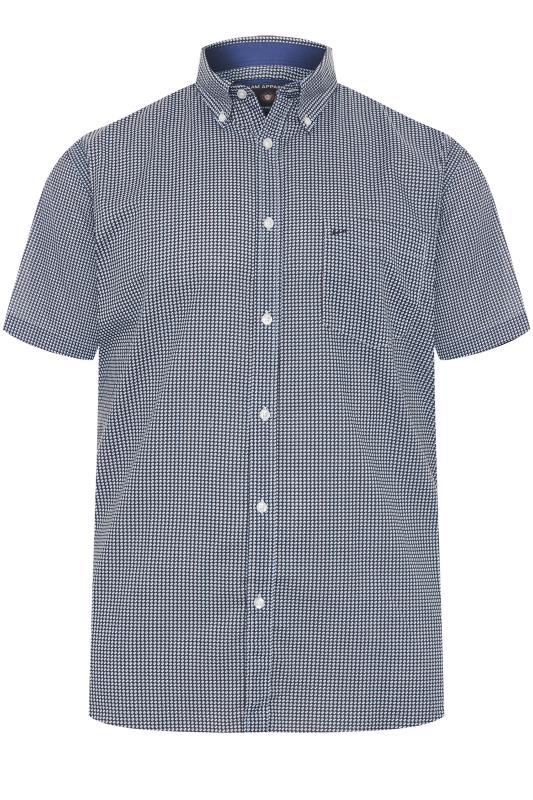 Plus Size Smart Shirts KAM Blue Denim Patterned Shirt