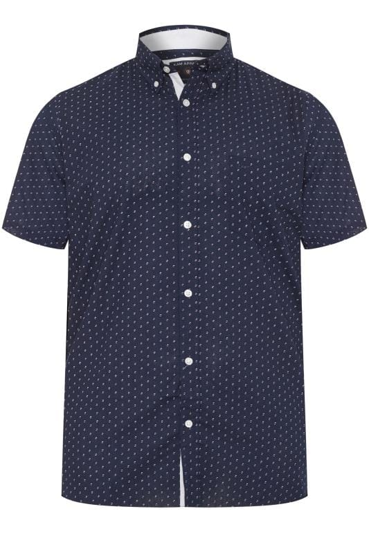 Plus Size Smart Shirts KAM Navy Dobby Print Shirt