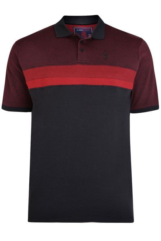 T-Shirts KAM Burgundy Colour Block Polo Shirt 202621