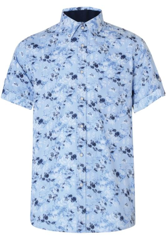 Plus Size Casual / Every Day KAM Blue & Navy Floral Print Shirt