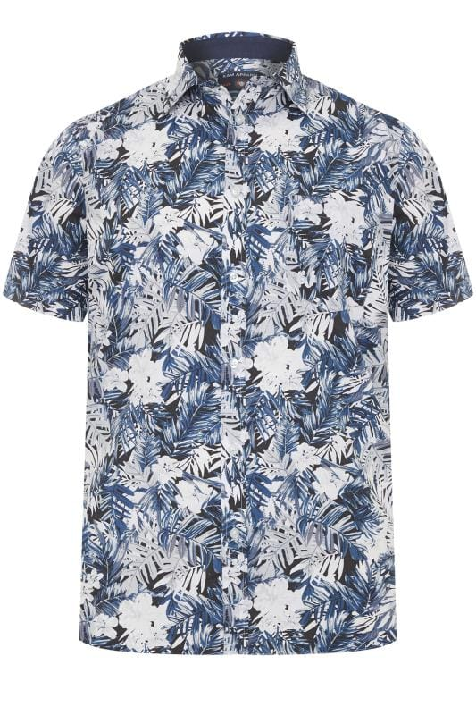 Plus Size Smart Shirts KAM Navy Floral Shirt