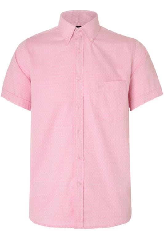 Men's Casual / Every Day KAM Pink Herringbone Shirt