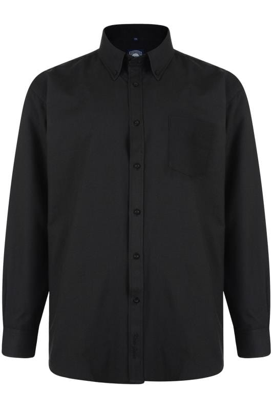 Große Größen Smart Shirts KAM Black Oxford Long Sleeve Shirt