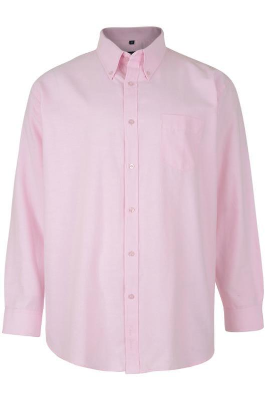 Plus Size Smart Shirts KAM Pink Oxford Long Sleeve Shirt