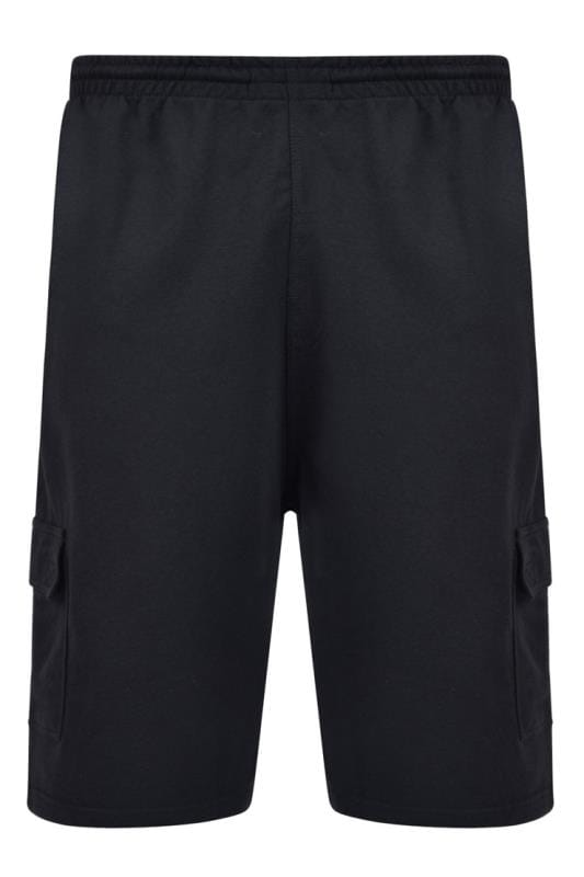 Plus Size Jogger Shorts KAM Black Cargo Lounge Shorts