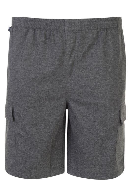 Plus Size Jogger Shorts KAM Charcoal Grey Cargo Lounge Shorts