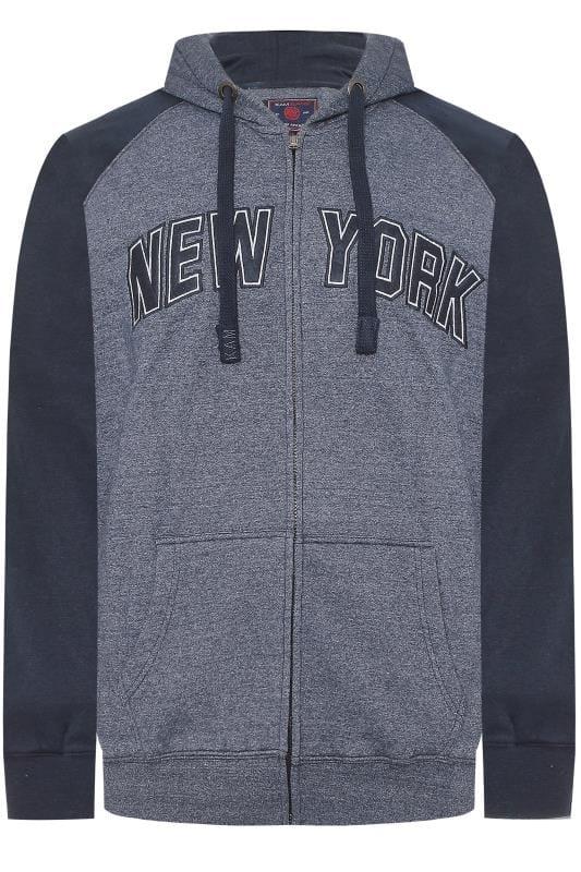 KAM Navy NYC Zip Through Hoodie