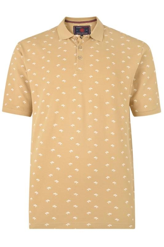 Men's Polo Shirts KAM Sand Palm Print Polo Shirt