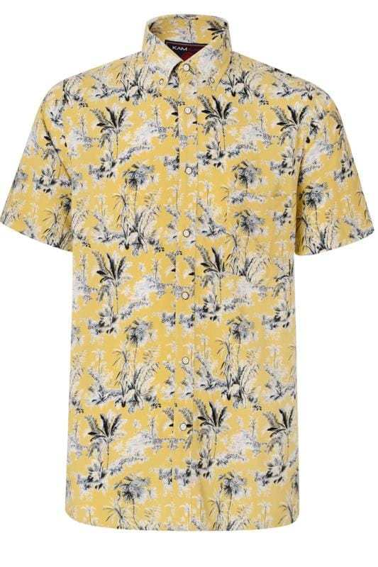 Plus Size Casual Shirts KAM Yellow Tropical Palm Print Shirt