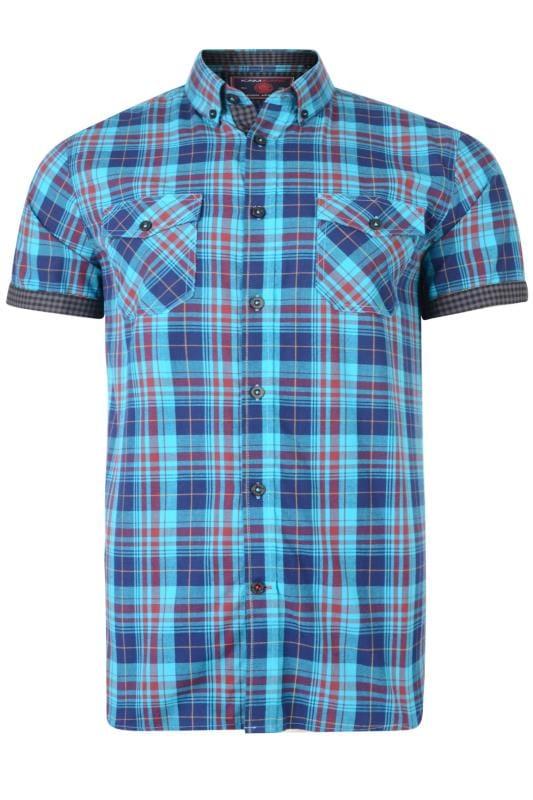 KAM Blue & Burgundy Retro Check Shirt