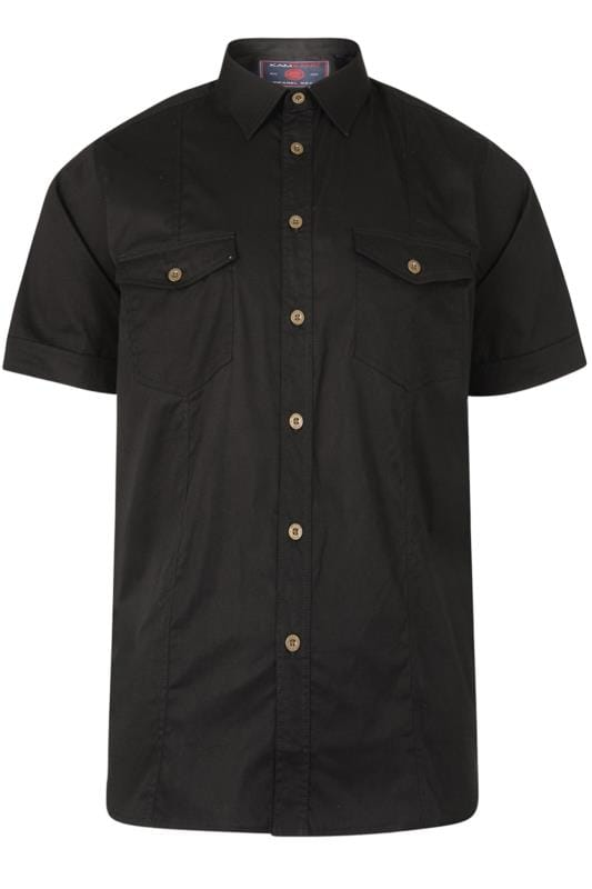 Casual Shirts KAM Black Short Sleeve Shirt 202640