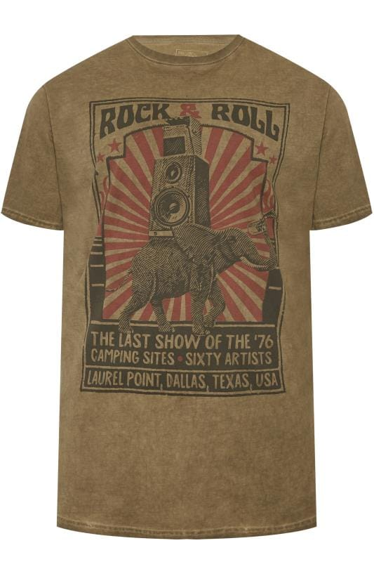 T-Shirts KAM Washed Green Rock & Roll Graphic Print 201923