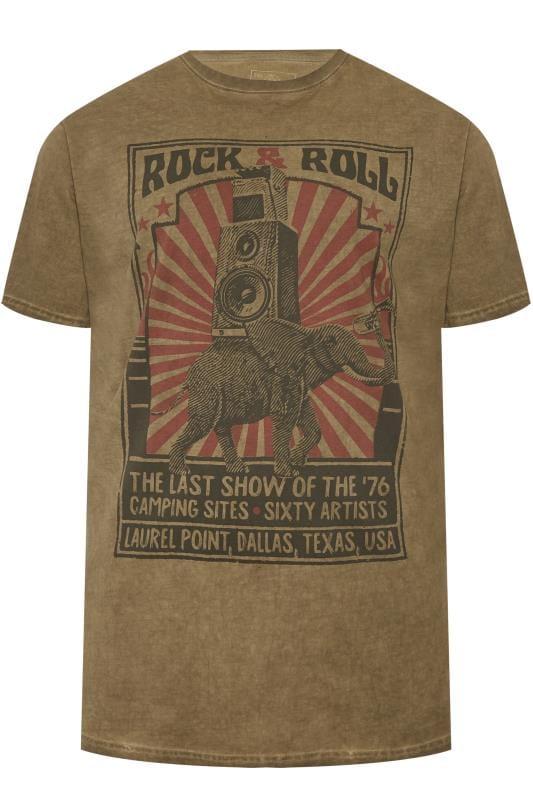 Große Größen T-Shirts KAM Washed Green Rock & Roll Graphic Print