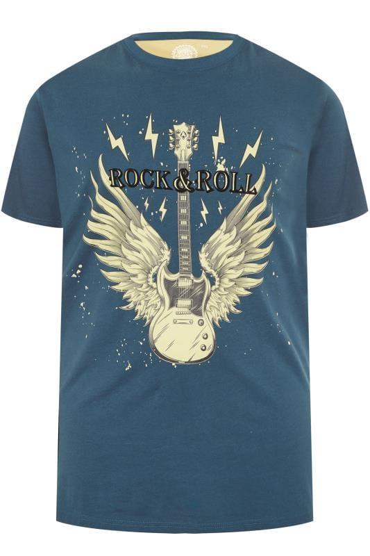 T-Shirts KAM Blue 'Rock N Roll' Printed T-Shirt 201925