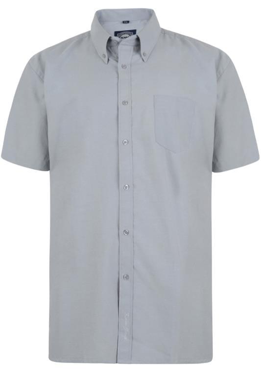Men's Casual Shirts KAM Grey Oxford Short Sleeve Shirt